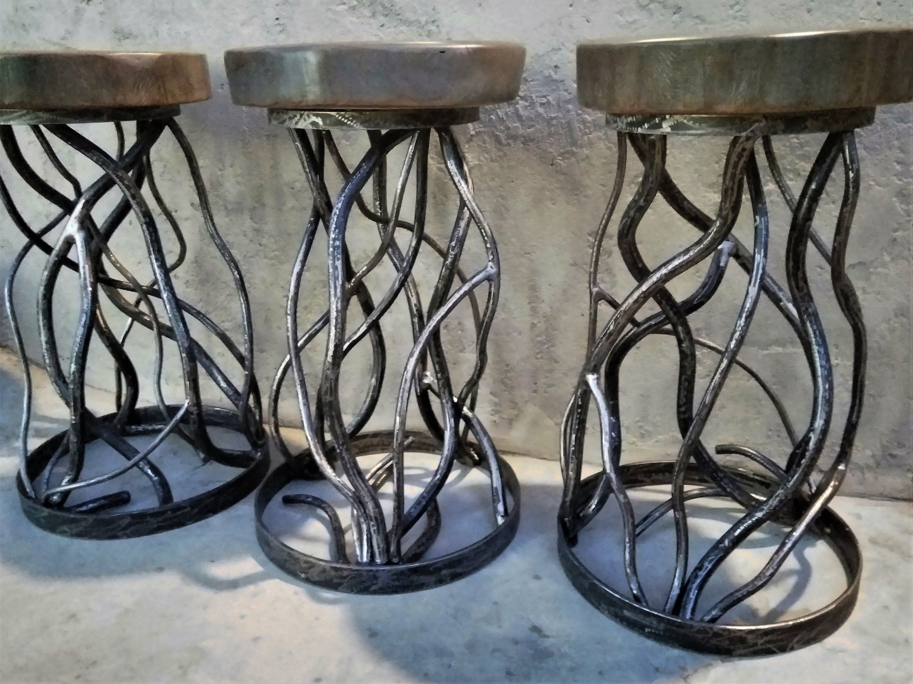 Forest Branches Forged Metal Bar Stools Pewter Grey Distressed Etsy Metal Bar Stools Forging Metal Bar Stools