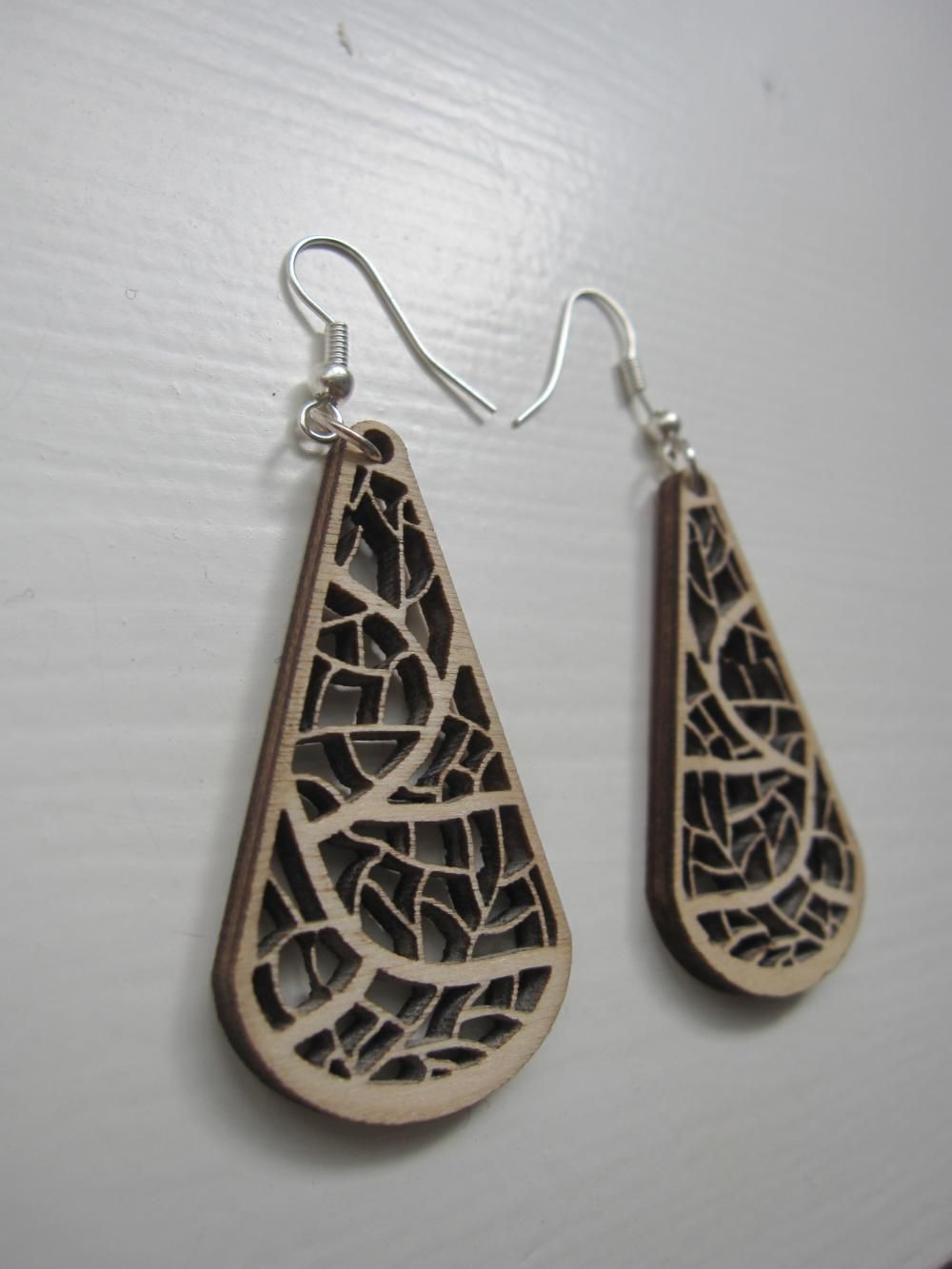 Wooden Laser Cut Earrings Organic Leave Nerves