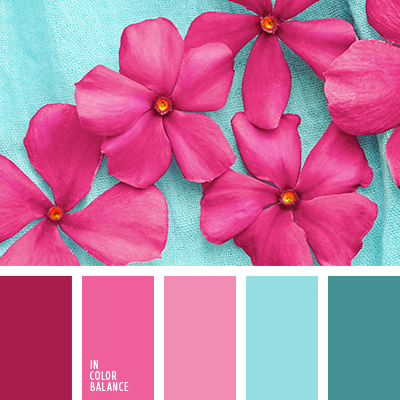 Dazzlingly bright palette, expressive one directly demonstrates its  superiority. Soft shades of pink, azure harmonize with hot colors  aqua,  pink, magenta.