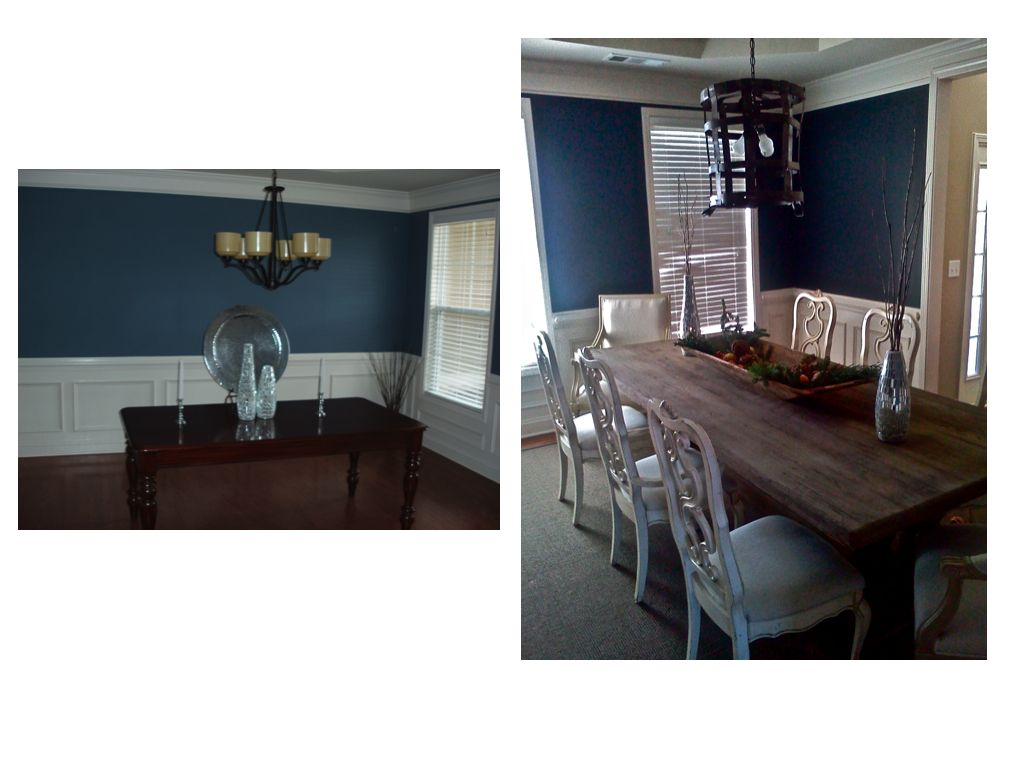 Navy blue dining room home sweet home pinterest for Dining room navy blue