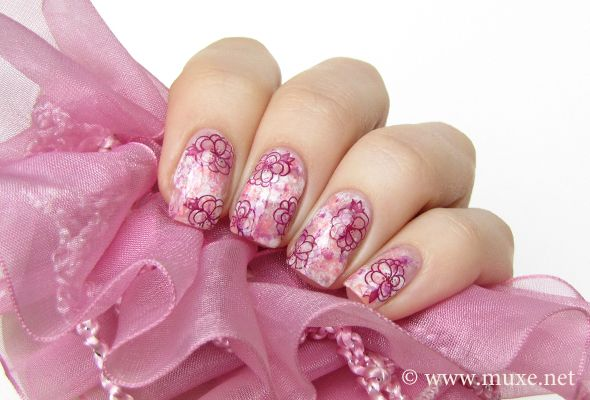 """""""The manicure was easy to do – I painted my nails with a pink nude nail polish (Lumene 13 Full of Peonies), and draw a white stripe on each nail with a regular nail polish brush (OPI Alpine Snow). After that I added white, pink, coral and purple using the saran wrap technique. After the background was done, I stamped flowers using m50 Konad plate and a dark purple (OPI We'll Always Have Paris)."""""""