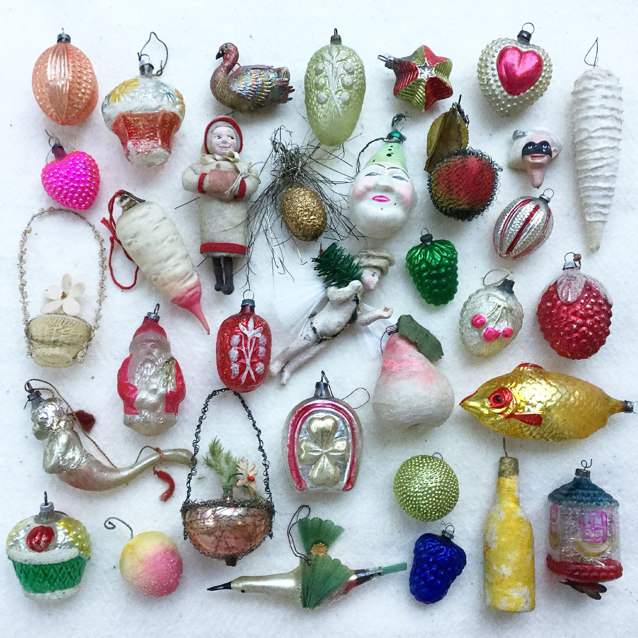 my collection of antique xmas ornaments for my german feather tree vintage christmas balls - Antique Christmas Decorations