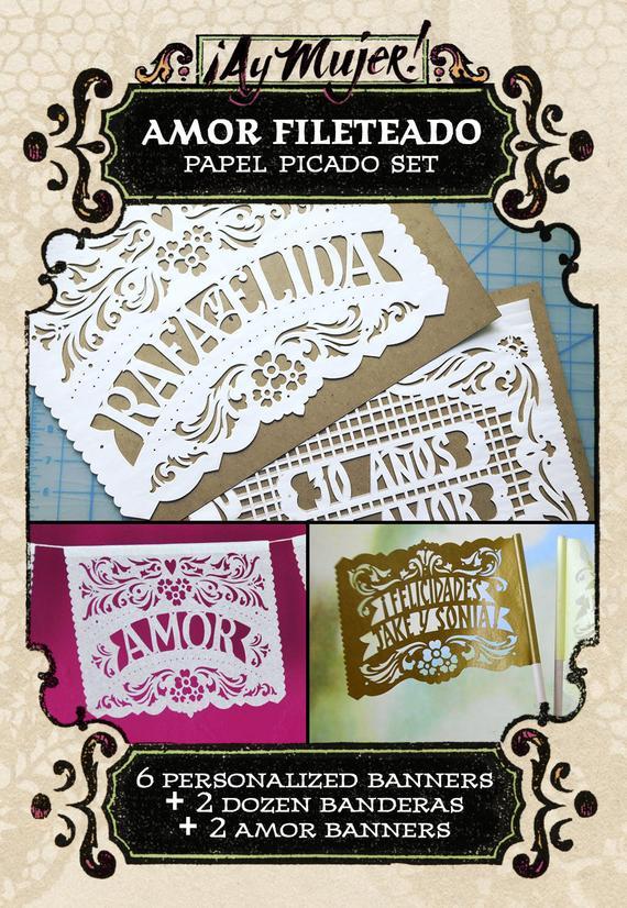 Set - AMOR FILETEADO papel picado - Save 10% - custom
