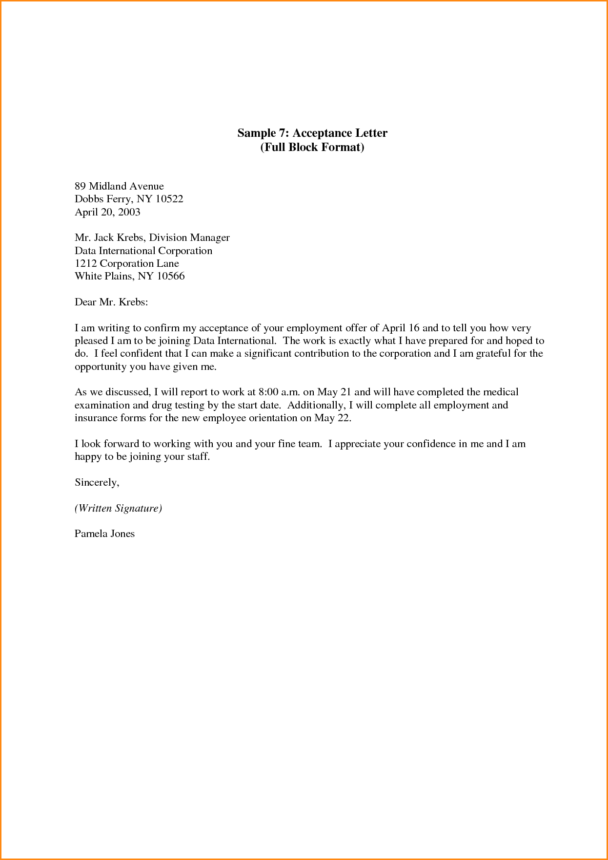 New Job Acceptance Letter Template Letter templates