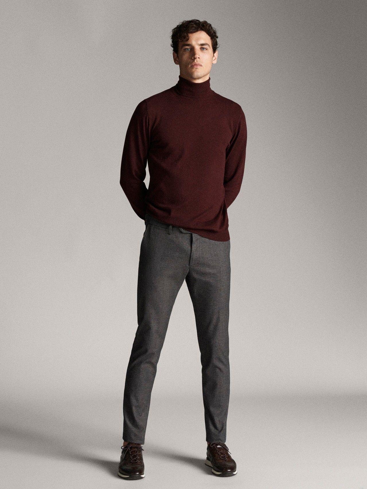 Massimo Dutti Hombre Pantalon Chino Cuadros Slim Fit Gris 44 Combinar Ropa Hombre Pantalones De Hombre Moda Ropa Casual De Hombre