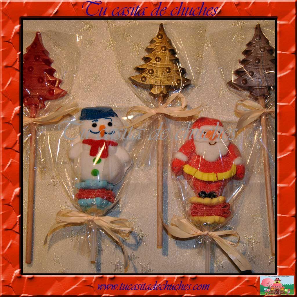 Brochetas y Piruletas de chocolate de Navidad. Disponible en www.tucasitadechuches.com