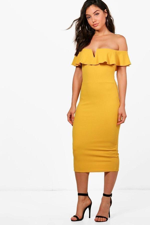 2857530f4cc8 boohoo Ava Frill Off Shoulder Midi Dress