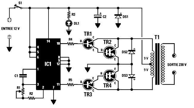Converter 12 Vdc To 230 Vac Or Inverter Circuit Diagram Circuit Diagram Electronic Engineering Electrical Projects