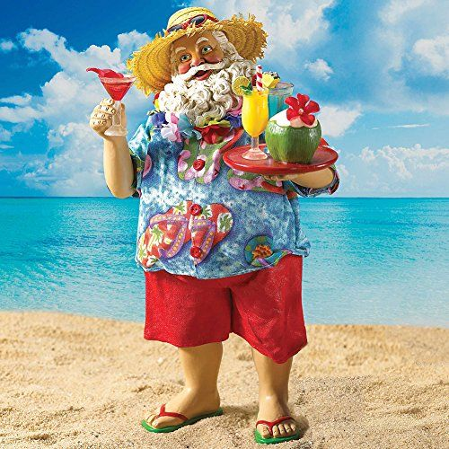 9187eca6 Collectible Santa Claus Beach Bum Tropical Vacation Fabriche Figure Décor -  wearing red shorts and flip flops