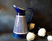 Vintage French large white and blue stripes enamelled pitcher .Vase , Watering can .Shabby chic.Nautical Decor