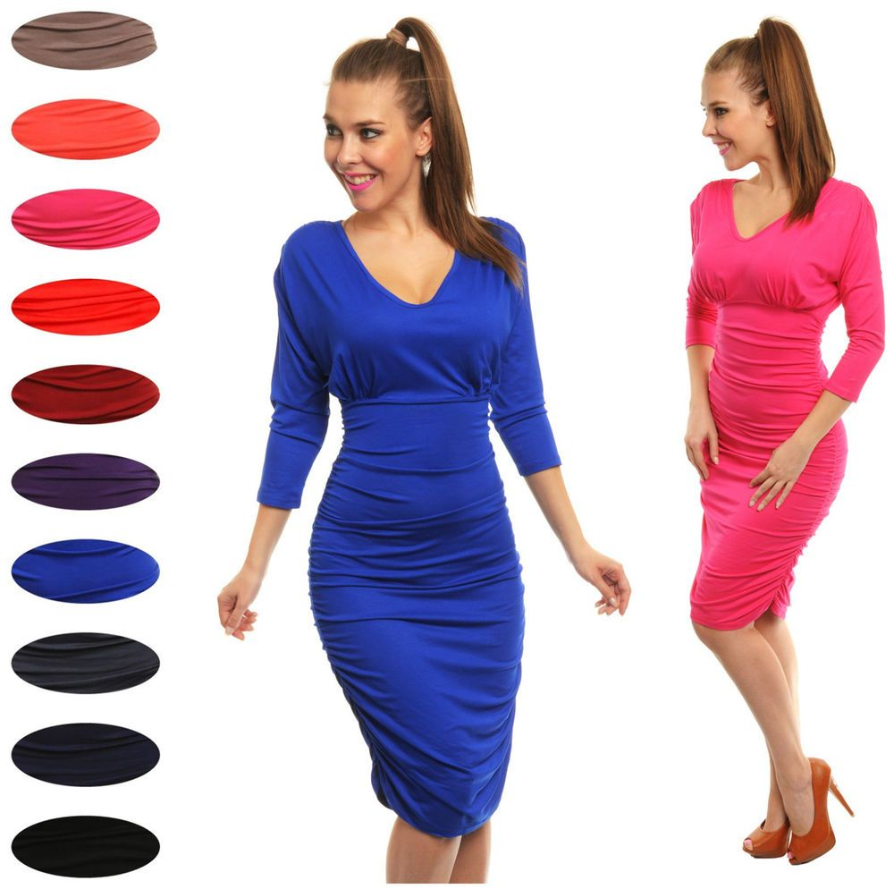 Glamour empire womenus bodycon sleeves ruched dress large bust