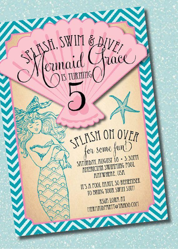 DIY Printable Vintage Mermaid Birthday Party Invitation Vintage
