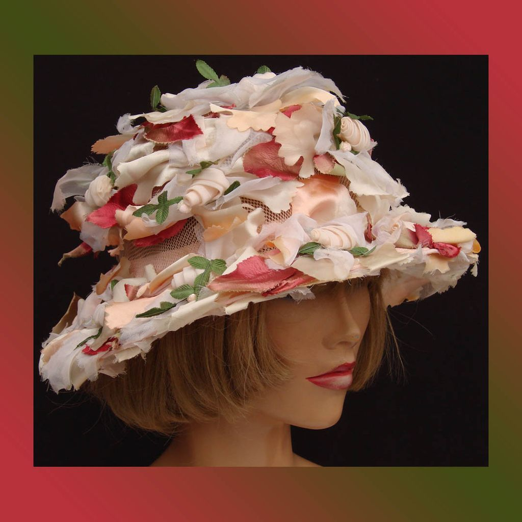 Vintage 1960s Flower Hat Pastel Colors Easter Bonnet Vintage Millinery Flowers Flower Hats Fancy Hats