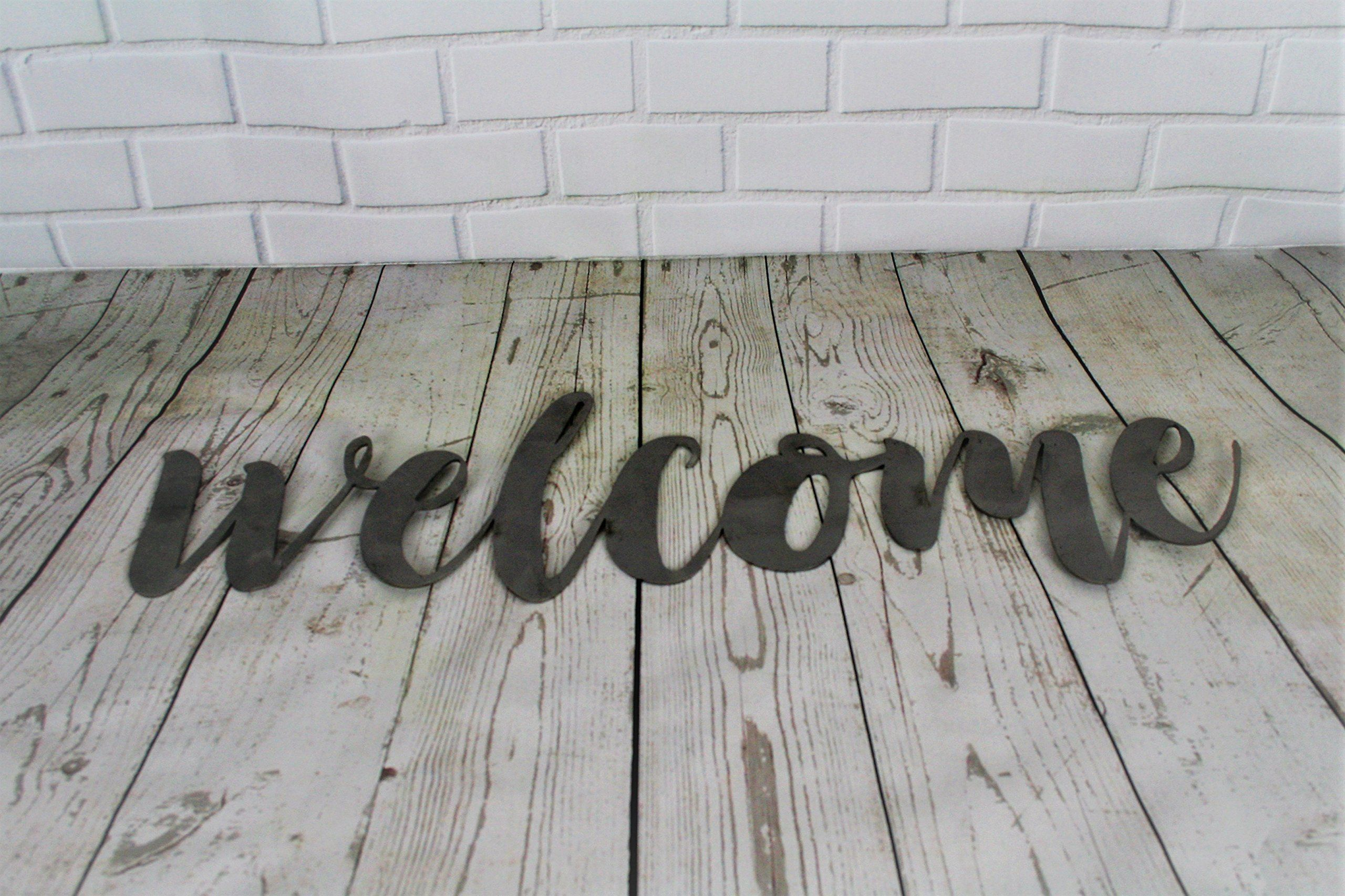 Raw Steel Unpainted Word Art Welcome Small Size You Can Find More Details By Visiting The Image Link Note Amazon Affiliate Link H Metal Welcome Sign Word Art Wall Decor