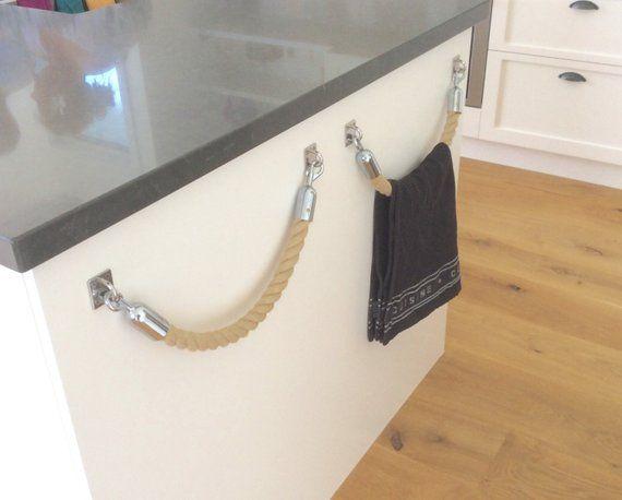 ROPE TOWEL HOLDER rack handmade Hempex rope for kitchen, bathroom - handtuchhalter für küche