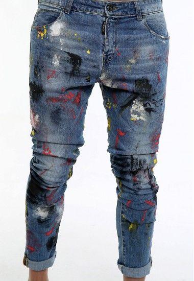 Dsquared2 Slim Blue Zipper Elastic Denim Paint Jeans Stretch DSQ DS2 D2