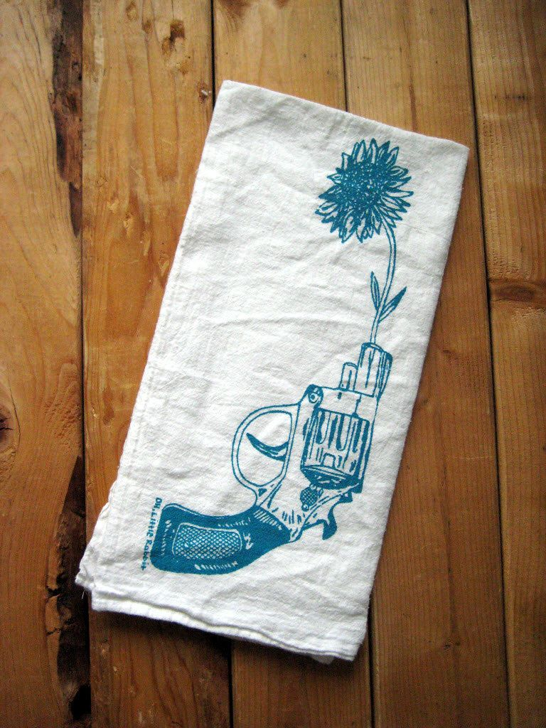 Screen Printed Organic Cotton Revolver and Daisy Flour Sack Towel ...