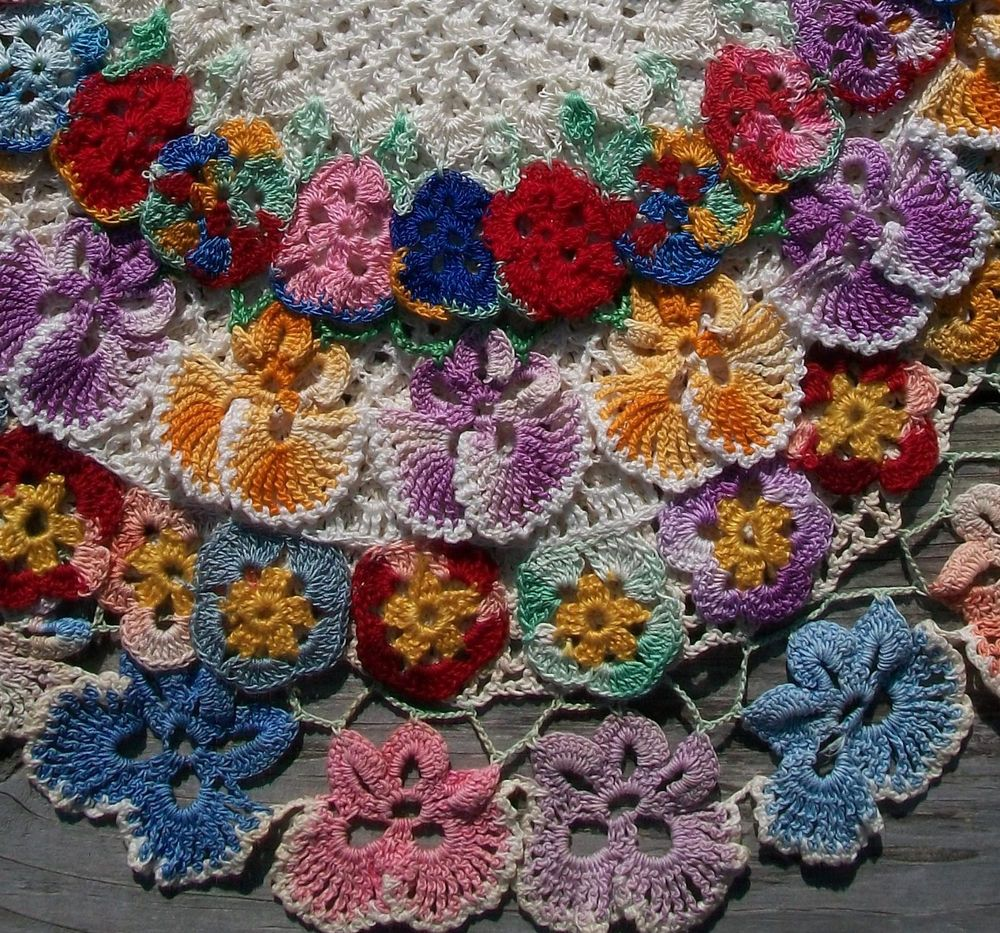 Vintage Pansy Doily Lot of 5 Hand Crochet DOILIES with Colorful ...