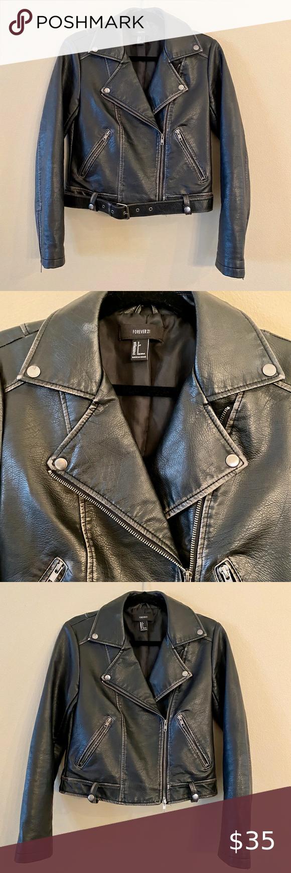 Forever 21 Faux Leather Black Moto Biker Jacket Womens Fashion Edgy Fashion Clothes Design [ 1740 x 580 Pixel ]