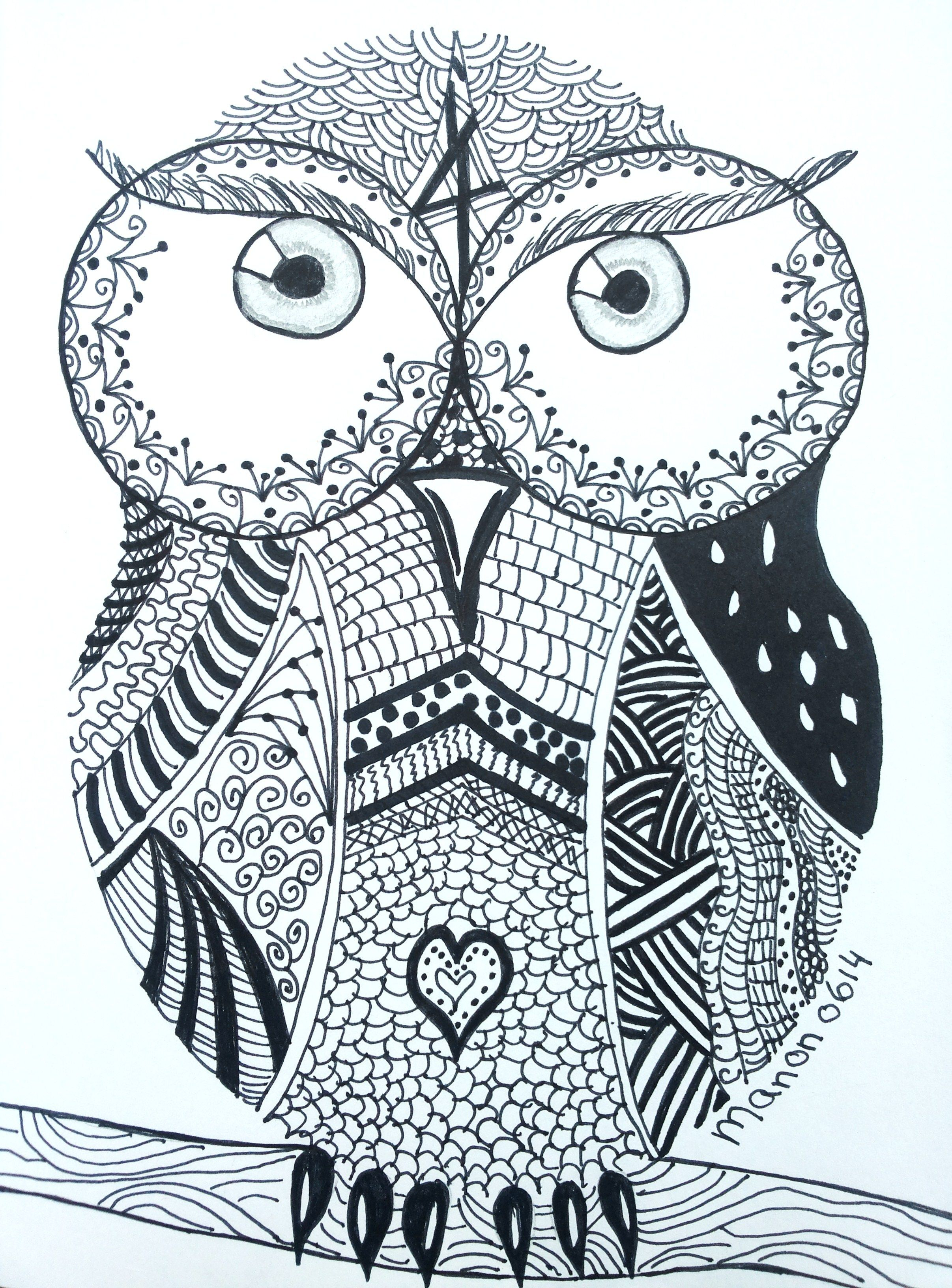 zentangle owl coloring pages - photo#36