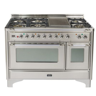 Ilve Majestic 48 5 Cu Ft Freestanding Dual Fuel Range With Griddle Range Cooker Dual Oven Oven Range