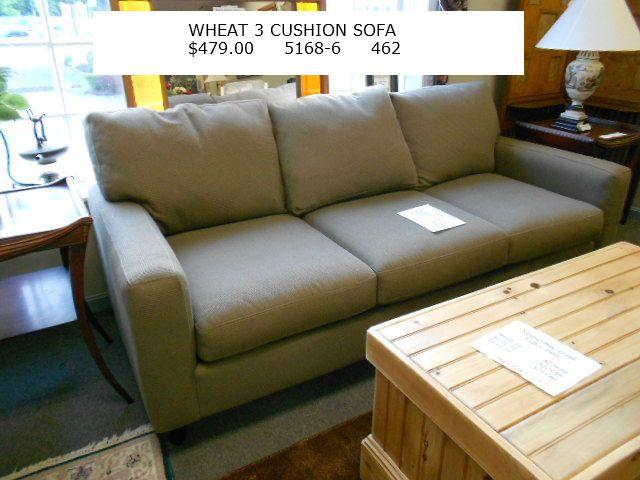 Wheat 3 Cushion Sofa $479.00 At Elite Repeat Furniture Hanover MA.