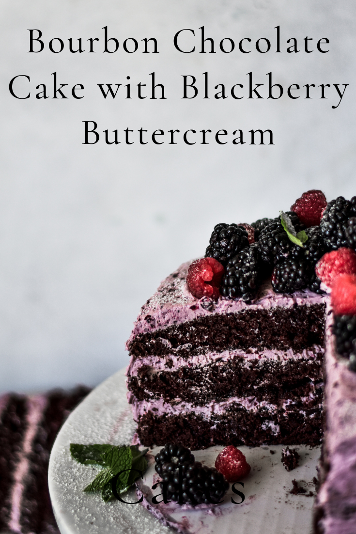 Bourbon Chocolate Cake with Blackberry Buttercream