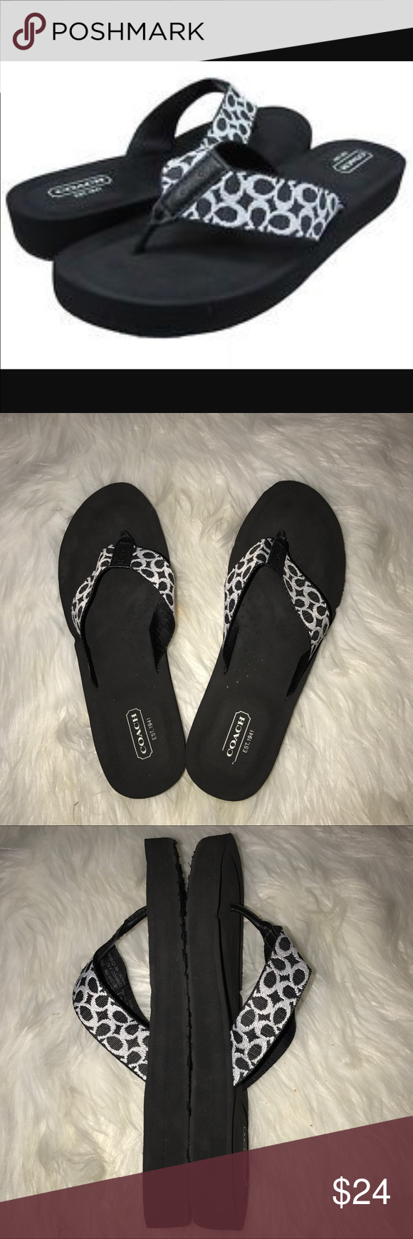 affc21aaf Coach Jessalyn Black White Signature Flip Flops Super cute and comfy!  Cushioned black sole with signature C thong design. Excellent quality and  condition.
