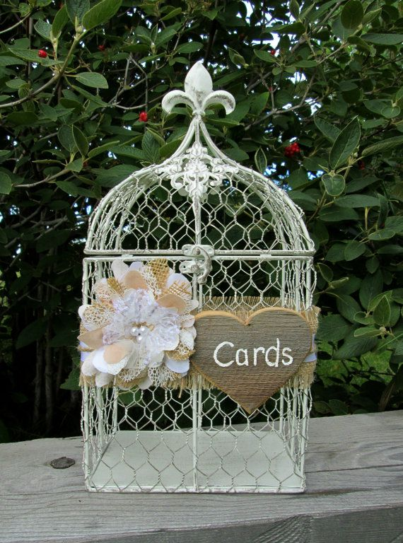 Rustic Wedding - Bird Cage Card Holder - Wedding Card Box - Wedding Birdcage - Decorative Bird Cage, Birthday, Anniversary, Baby Shower, Bridal Shower by MyMontanaHomestead