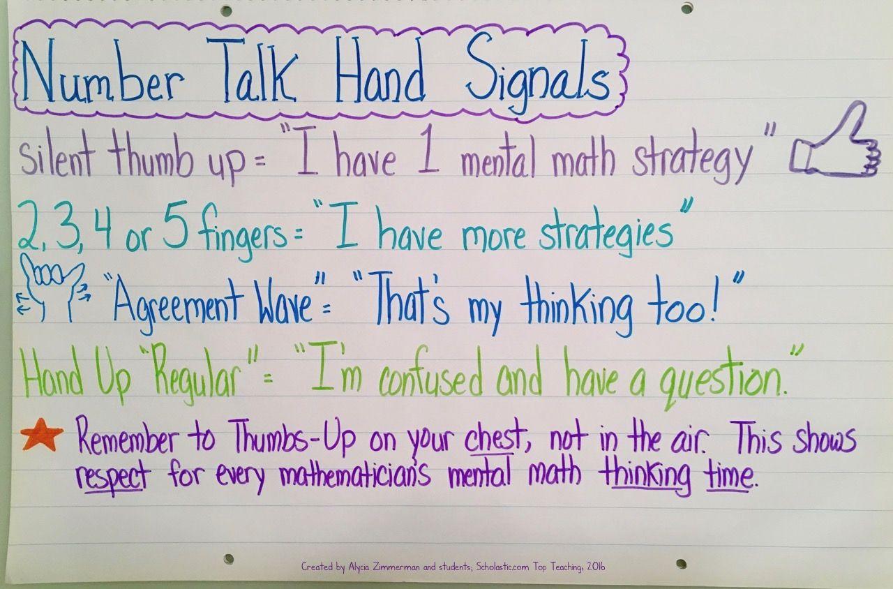 Number Talk Hand Signals Anchor Chart