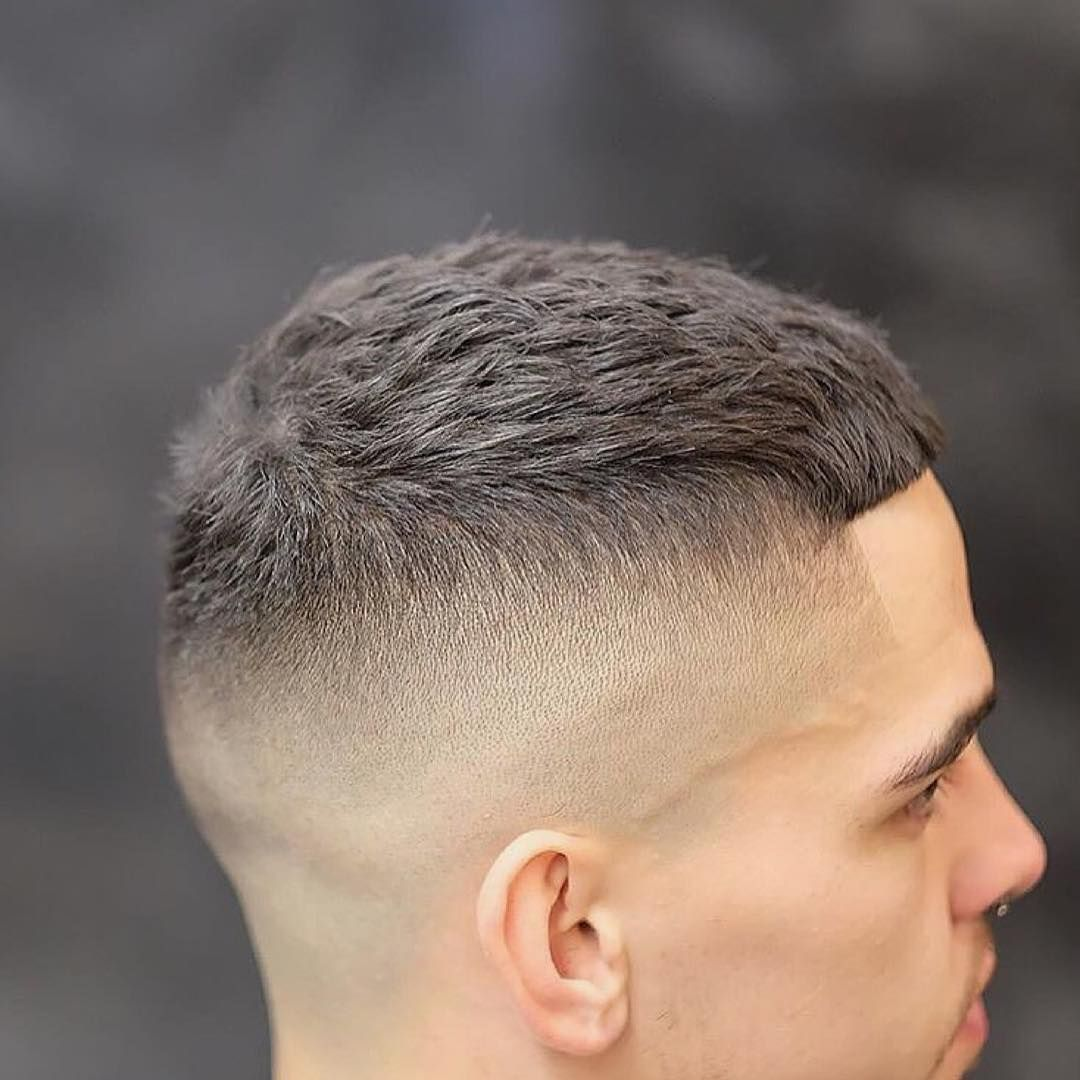 Get This Hairstyle Mens Short Textured Crew Cut With Skin Fade And