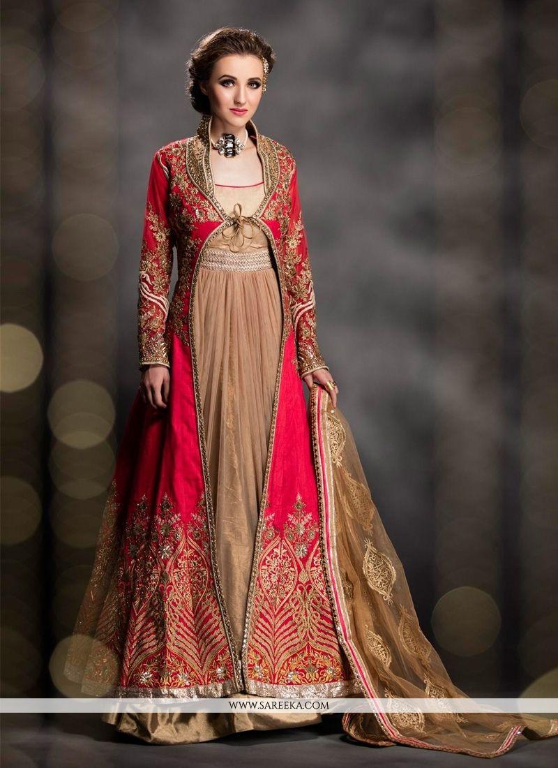 Patch Border Work Art Dupion Silk Designer Gown | Designer gowns ...