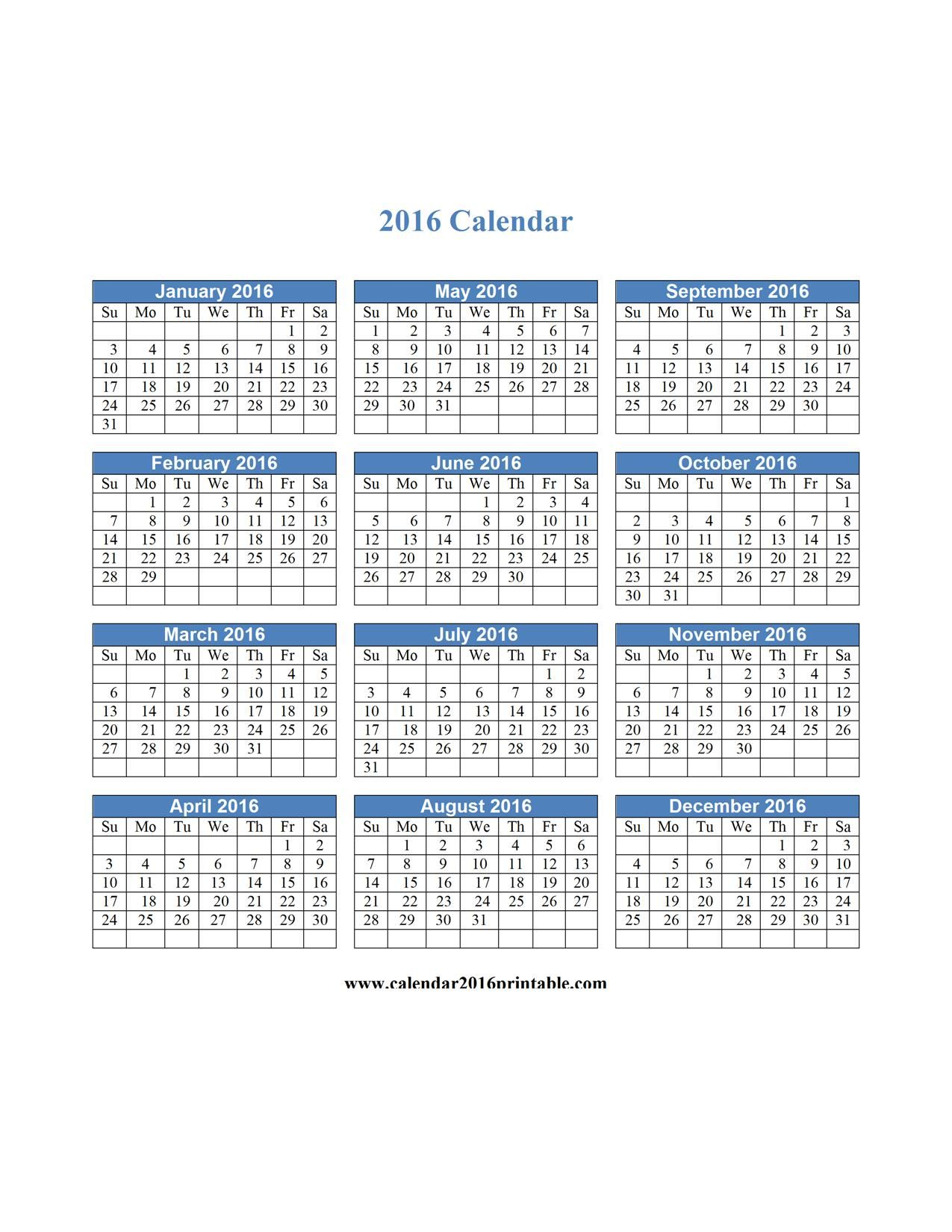 free calendar 2016 printable download free printable yearly and