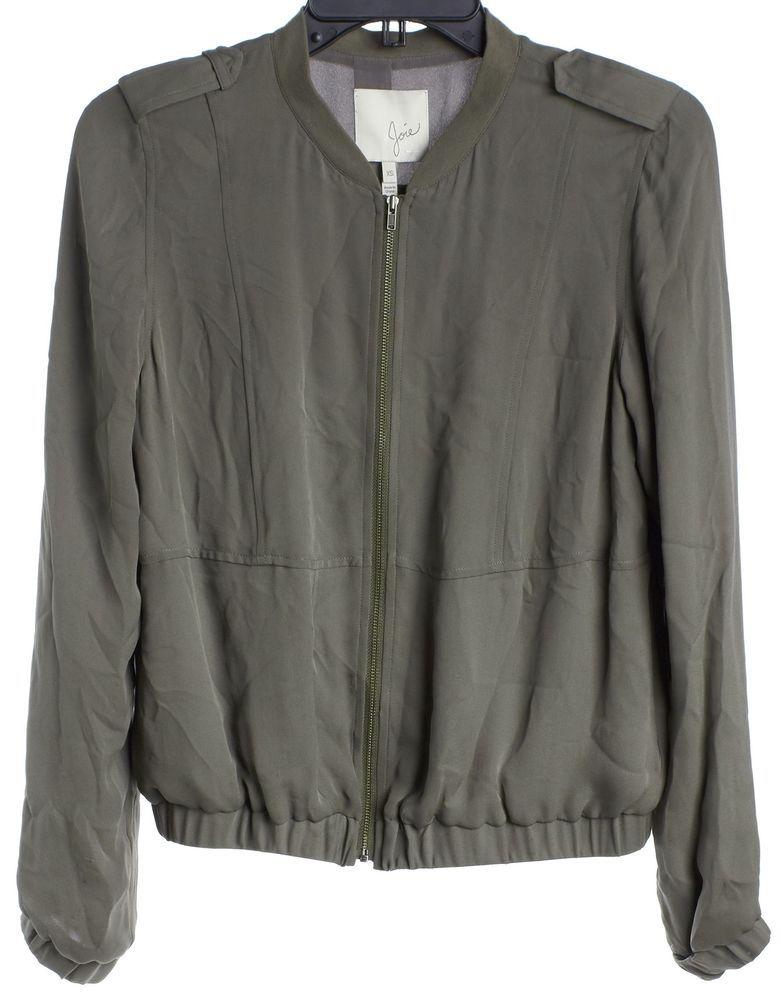 f9882c17f24 JOIE Olive Green Silk Zip-Up Blouson Bomber Jacket Size XS #Joie  #BasicJacket