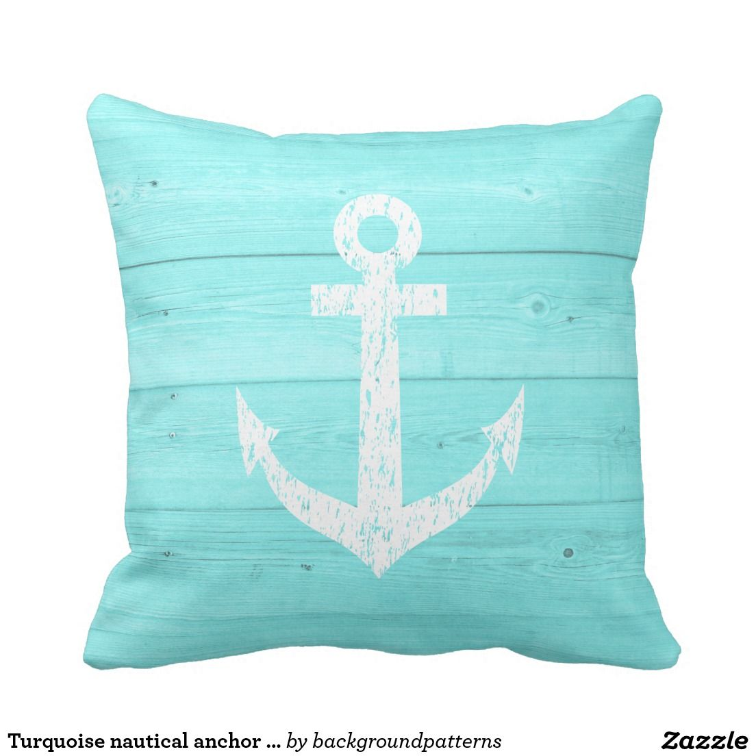 Turquoise Nautical Anchor Outdoor Throw Pillow