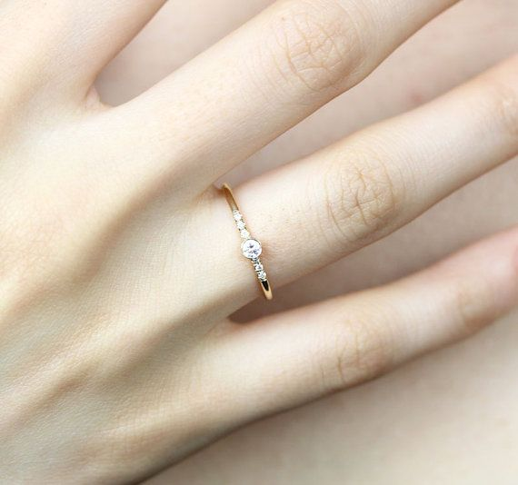 14k Solid Yellow Gold Diamond Engagement Ring Simple Engagement