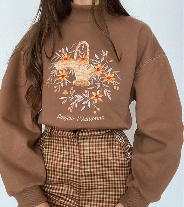 Oversized Fit Sweater in Brown Floral Embroidered Design High Neck Long Sleeve C #helloautumn