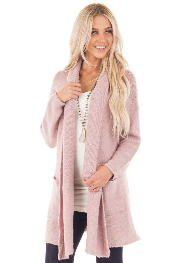 Dusty Pink Open Drape Long Sweater Cardigan With Pockets Long Sweaters Cardigan Fall Sweaters Cardigans Long Sweaters
