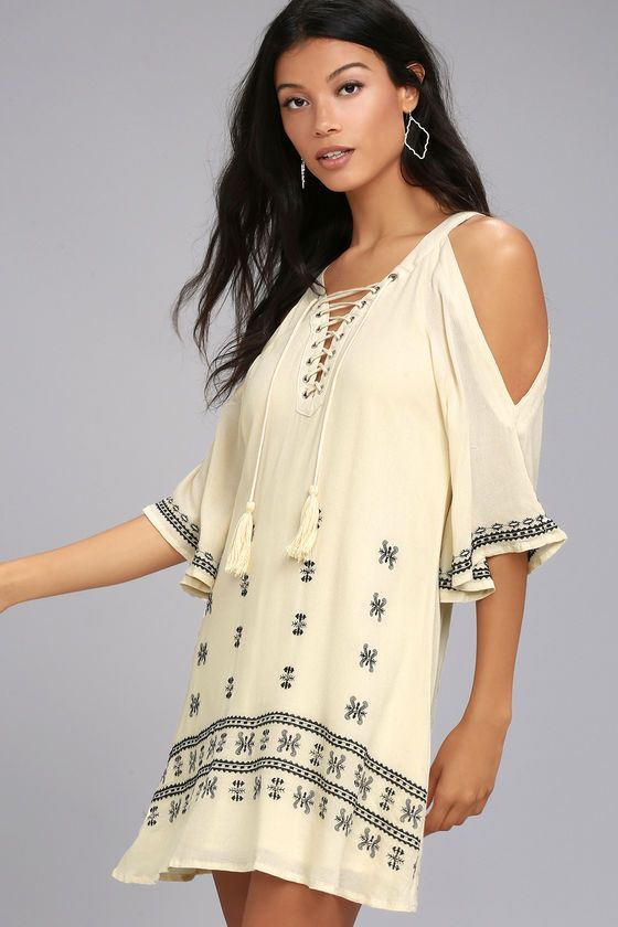 To the Sea Light Beige Embroidered Cold Shoulder Dress