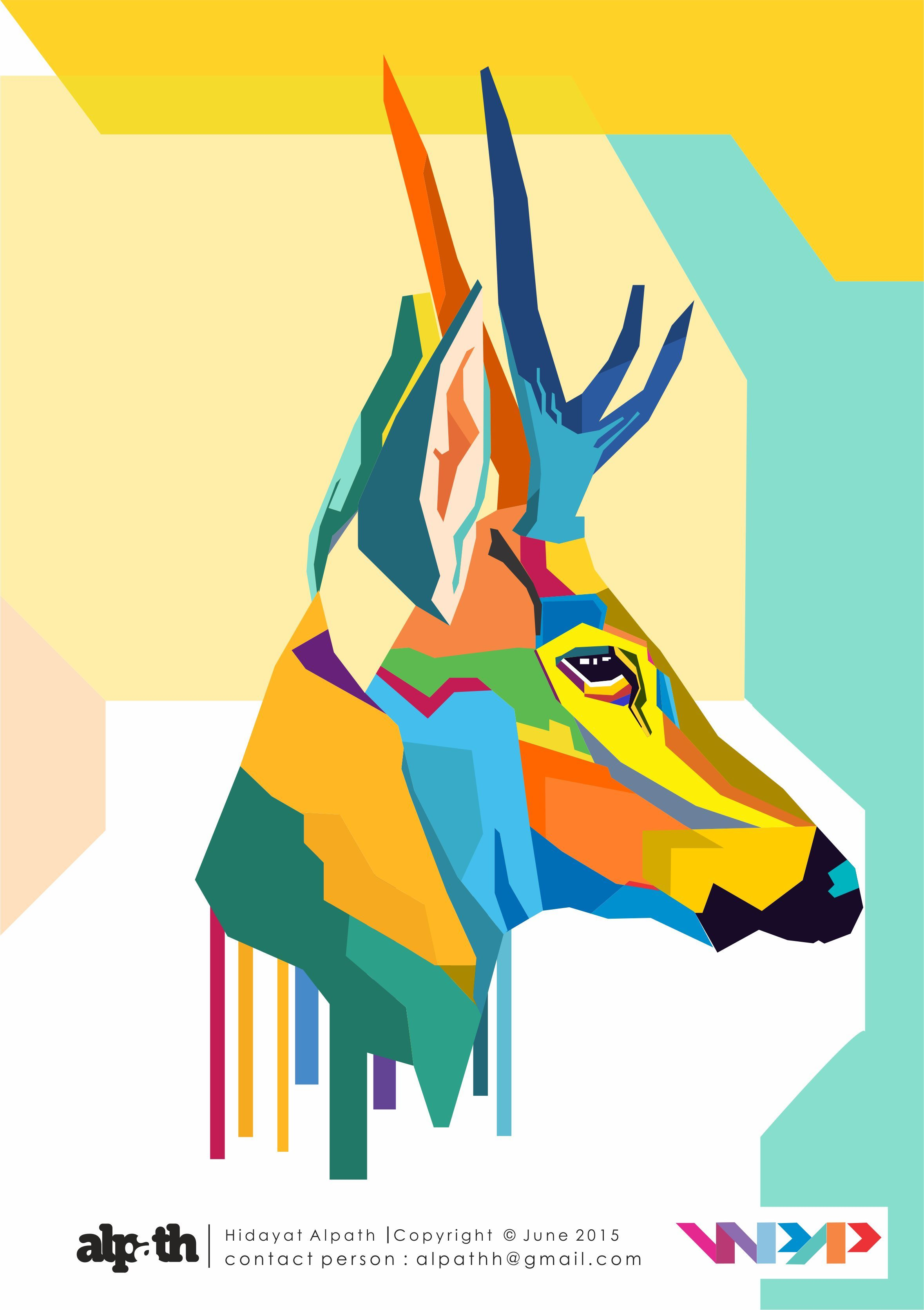 Deer, Kijang, WPAP, Digital Art, Pop Art, Asli Indonesia