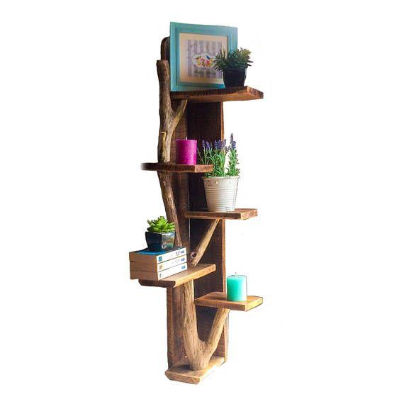 Étagères murale dangle, étagère dangle, étagères angle bois flotté