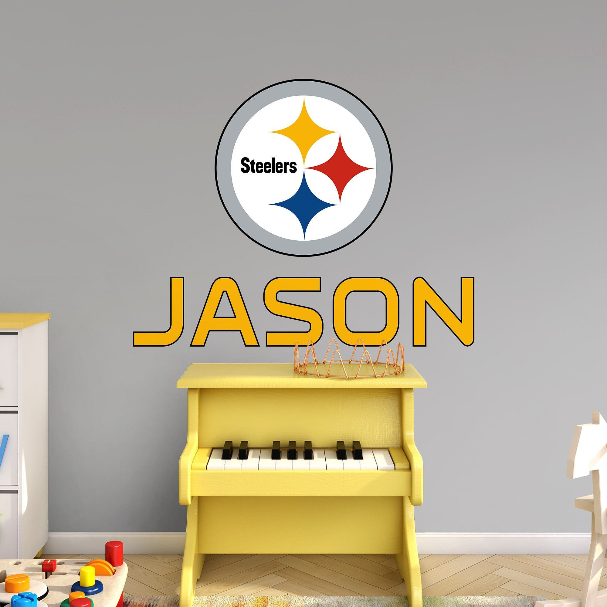 Pittsburgh Steelers Stacked Personalized Name Yellow Giant