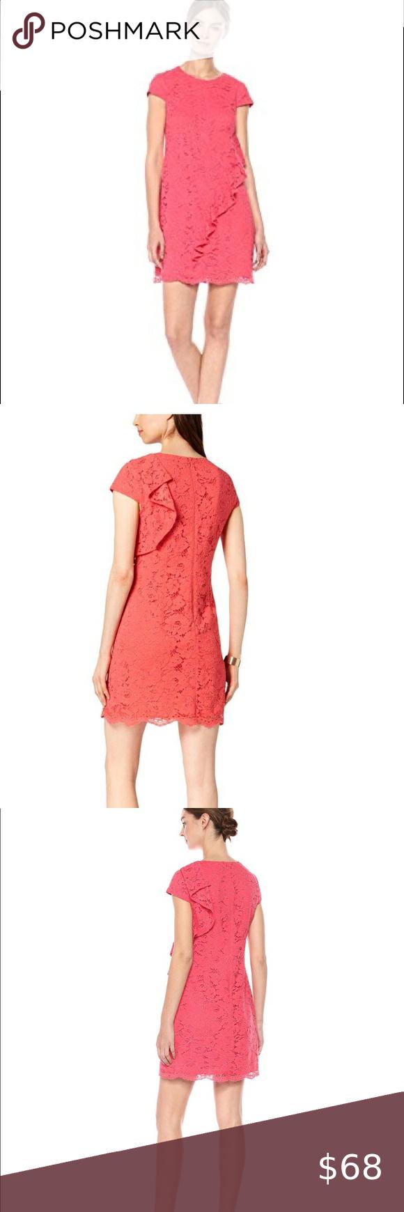 Vince Camuto Women S Lace Ruffle Shift Dress Lace Shift Dress Red Holiday Dress Chiffon Midi Dress [ 1740 x 580 Pixel ]