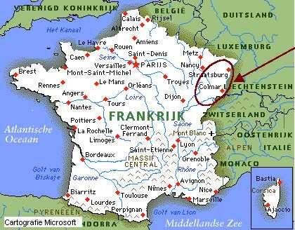 Kaart Frankrijk Jpg 420 328 Frankrijk Elzas Straatsburg