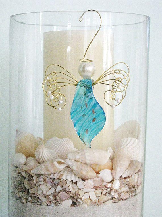 Angel Ornament Glass Ornament Holiday Angel by RalstonOriginals