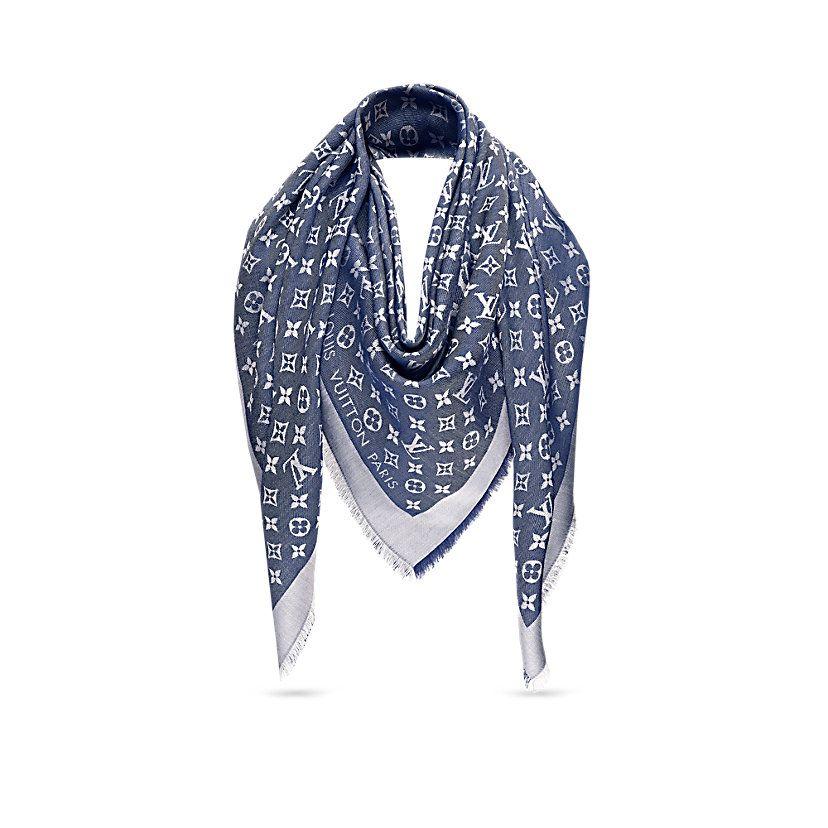 95818eab77e3b Cadeau de Saint-Valentin de luxe pour Femme - Châle Monogram Denim Femme  Accessoires Écharpes et foulards