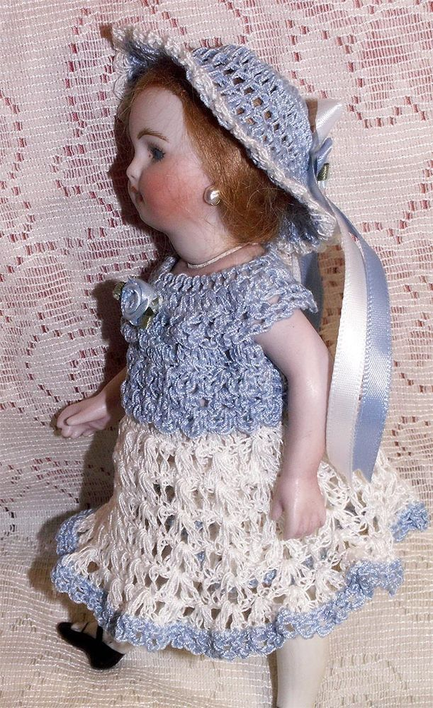 """SPRING DRESS, HAT Set for 7-8"""" Doll Antique Bisque MIGNONETTE Kestner Bru"""