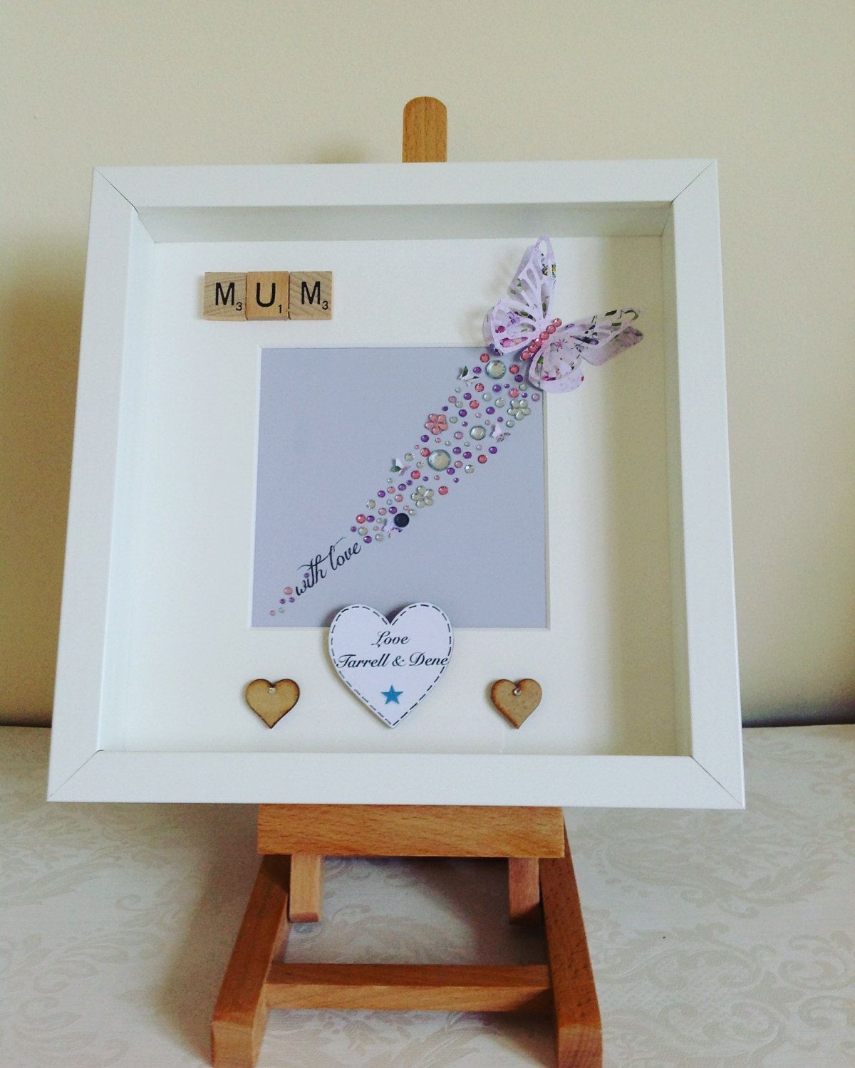 Personalised Mothers Day 3D box frame with butterflies and sparkles ...