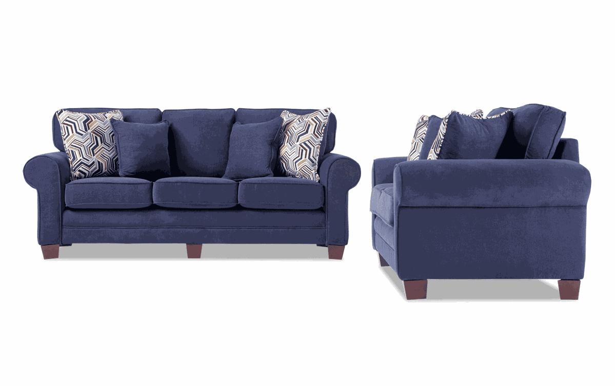 Gracie 80 Navy Sofa Loveseat In 2020 Love Seat Sofa Loveseat Sofa #plush #living #room #set