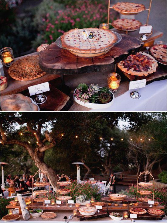 Candy Buffet bestehend aus klassischen Pie - Freunde & Familie um eine Kuchenspende bitten